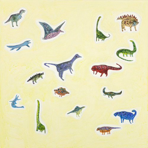 羅喬綾  恐龍貼紙 2015 壓克力畫布  60x60cm