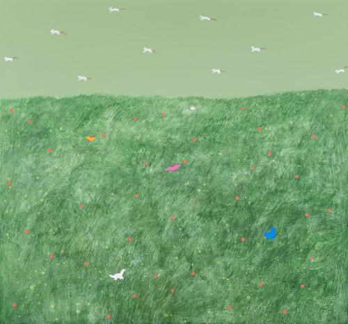 羅喬綾  貼紙恐龍的家 2016 壓克力、畫布  140x150cm