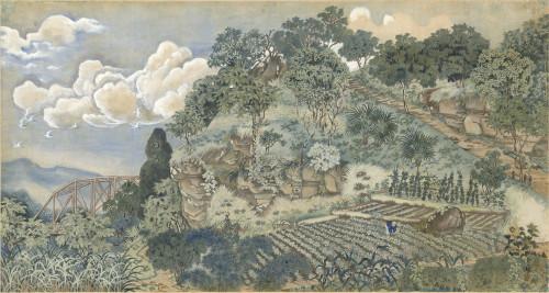 郭雪湖_圓山附近(色稿)_1929_彩墨、紙_96×179cm_小