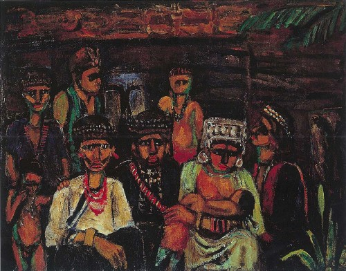 洪瑞麟  原住民家族  1930 油彩畫布  50F