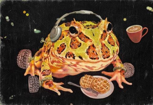 嚴靖傑  人生角鬥士-蛙蛙品嚐  2013 油彩畫布  50×72.5cm