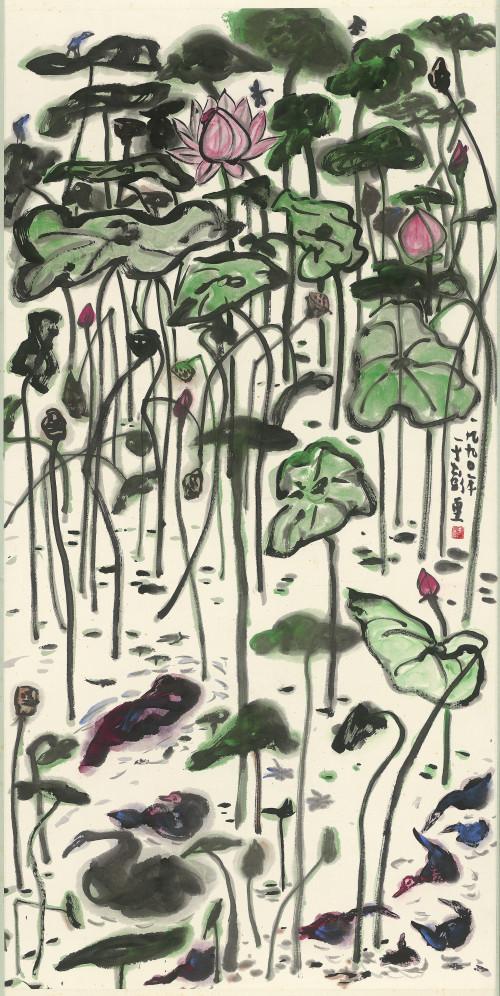 068_亭亭玉立, 彩墨、紙本, 136.9x68.7cm(10.5才), 1990