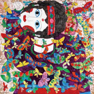 吳昊 蝴蝶與女孩 油彩、麻布 62x62cm