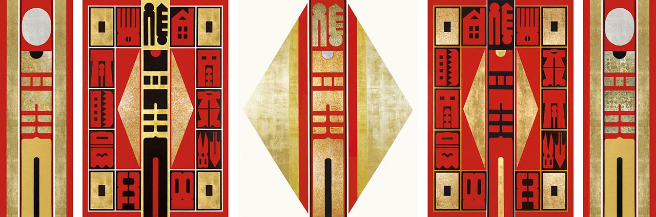 希望之門 壓克力金箔畫布 194x550cm(533號)