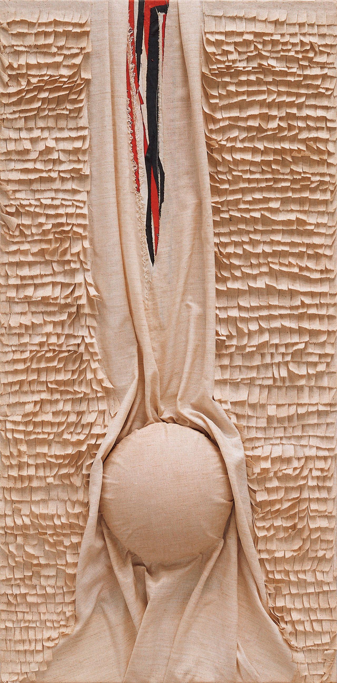 朱為白 突出 綿、麻、樹酯 55.5x133cm