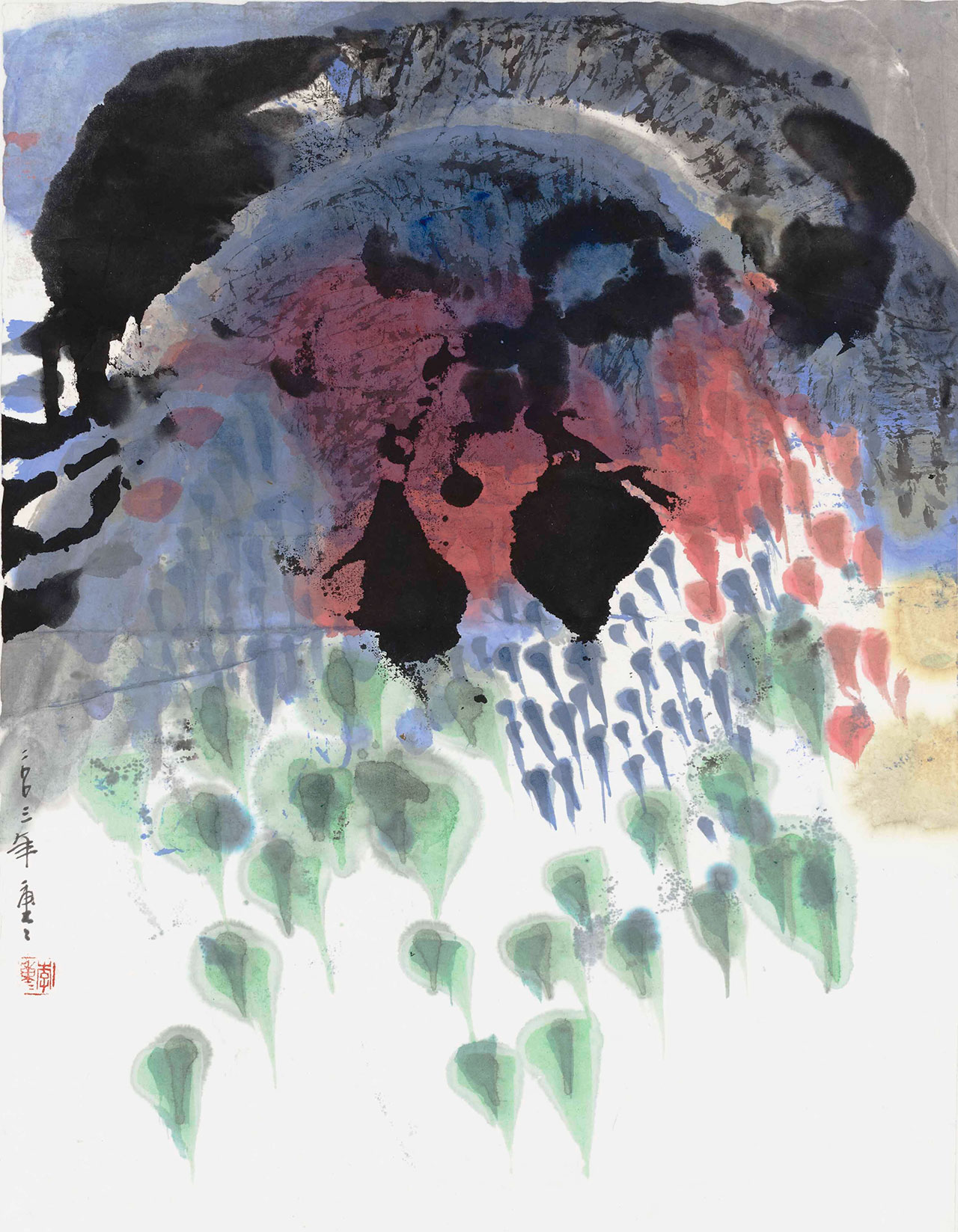 李重重 迎風 水墨設色、紙本 35×45cm