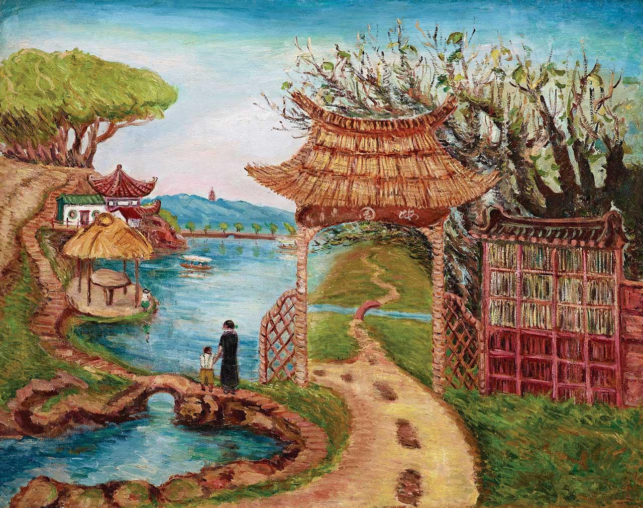陳澄波 梅園-上海時期 油彩畫布 91x116.5cm