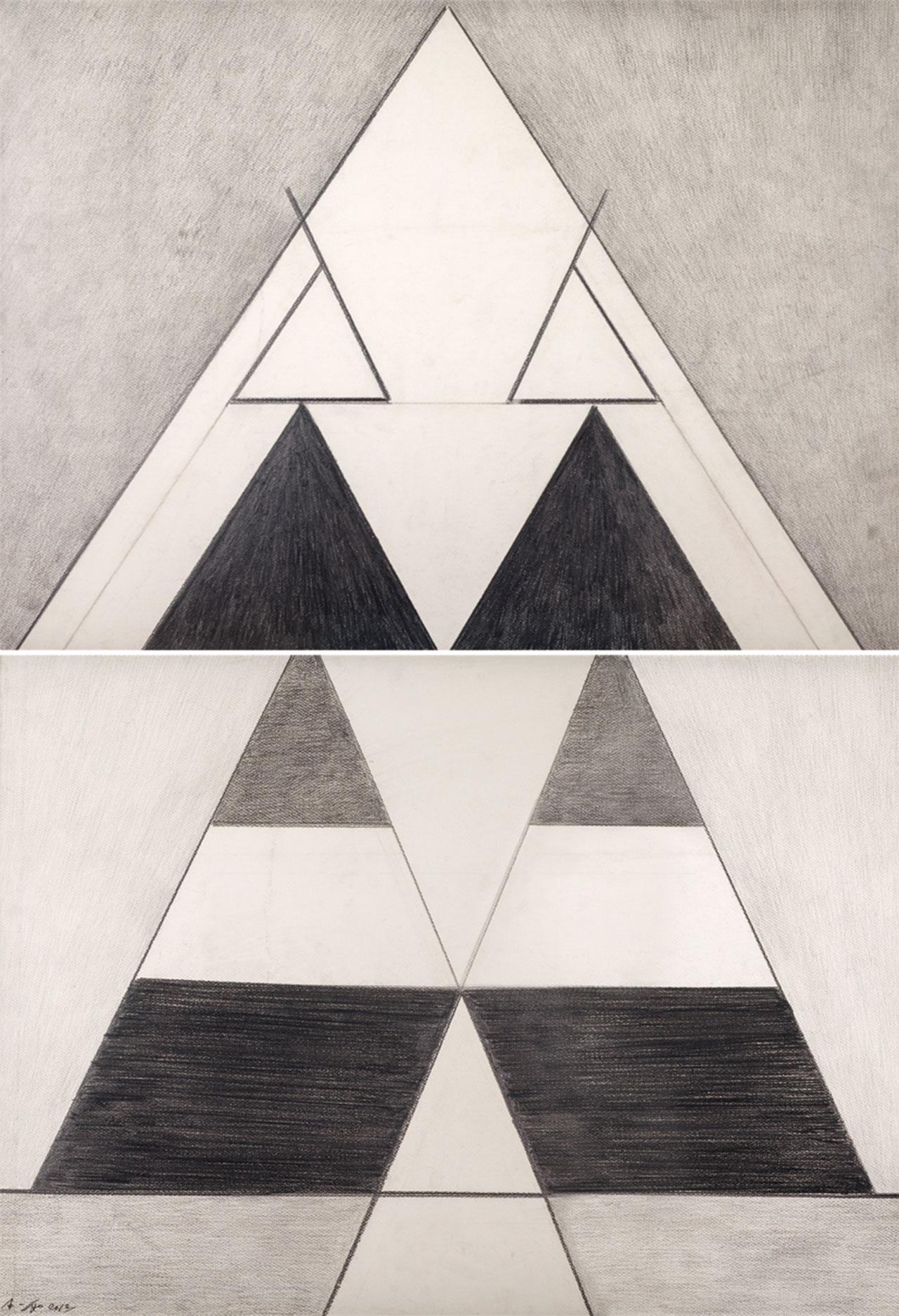 霍剛 無題6 鉛筆紙 101x72cmx2