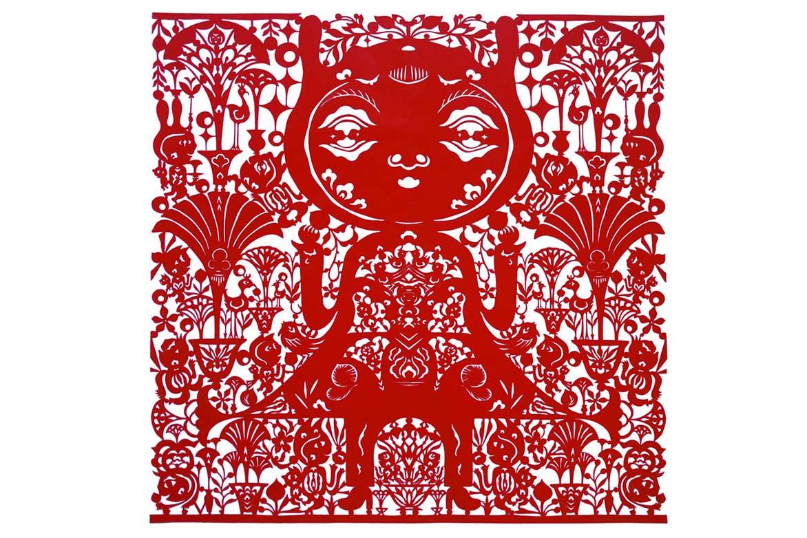 吳耿禎 有雨傘形狀花朵的王國 紅絹布 120x120cm