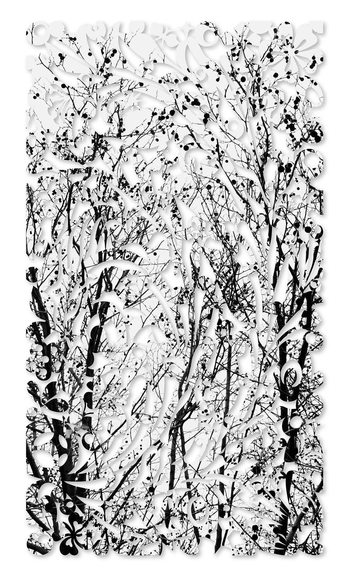 吳耿禎 影像剪紙系列 - 仰望冬日 宣影布輸出 100x180cm