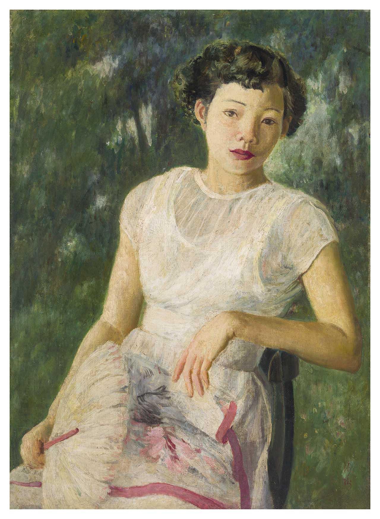 李梅樹 穿白洋裝的少女 油彩畫布 20F