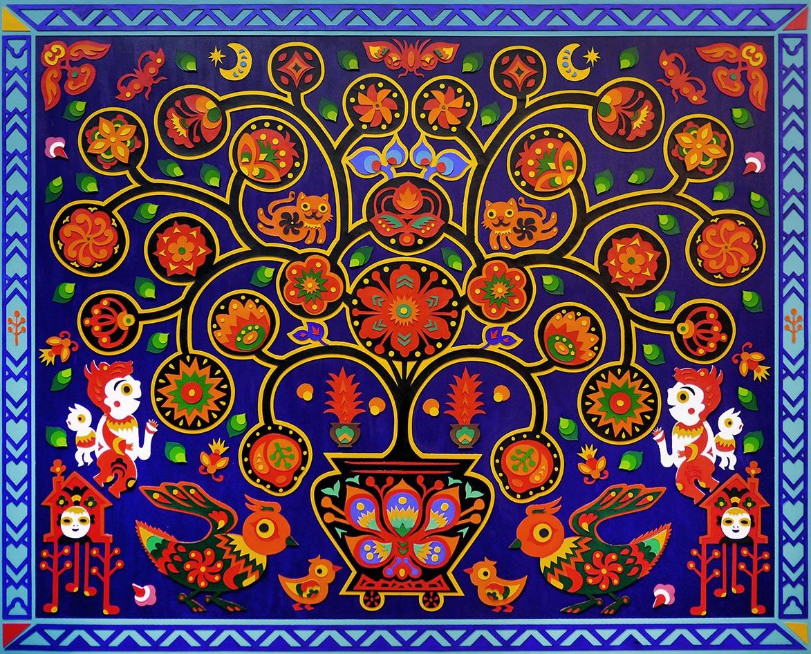 吳耿禎 彩色剪花-夏夜的生命樹 木板、皮革 100x120cm