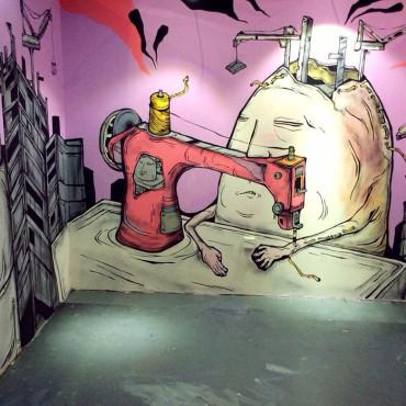糖果鳥 堆疊快樂 噴漆、水性漆、帆布 245x930cm