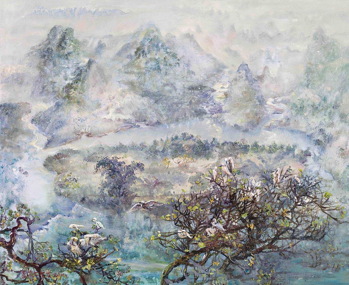 張翠容 嵯峨俯瞰漓江水 壓克力、油彩、麻布 50x60.5cm