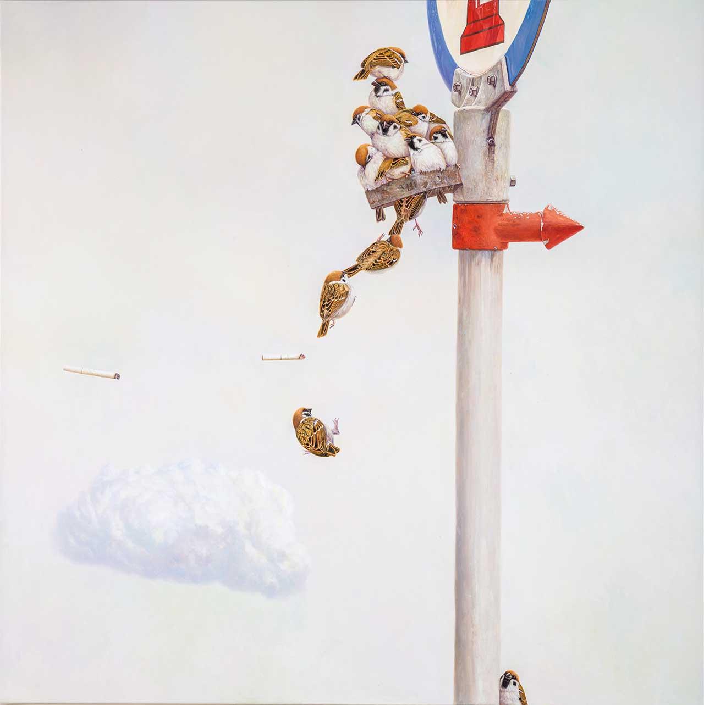 黃頤勝 背後的曙光 油彩畫布 100x100cm