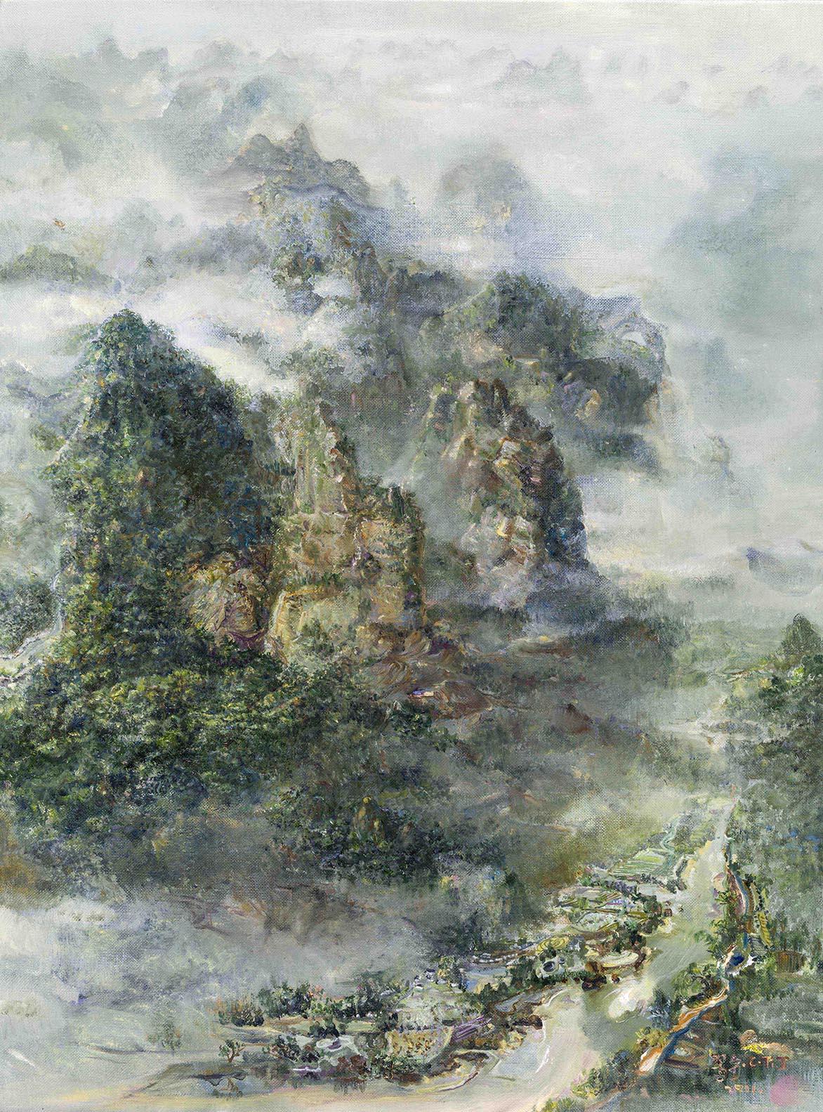 張翠容 雲氣隨飛龍 壓克力、油彩、麻布 60.5x45.6cm