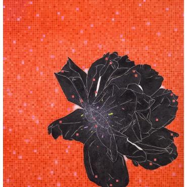 金芬華 薔薇花開-紅 油彩畫布 162x130cm