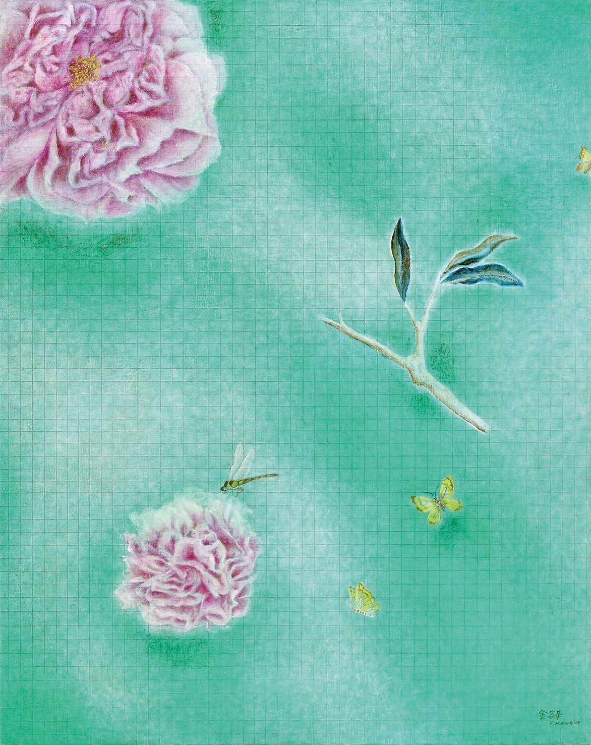 金芬華 花開富貴 油彩畫布 91x72.5cm