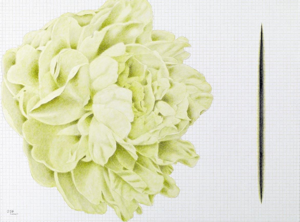 金芬華 側姿一綠 油彩畫布 97x130cm