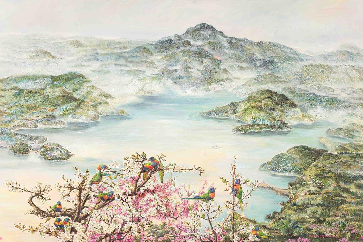 張翠容 彩飛夢幻水沙連 複合媒材、麻布 145.5×220.2cm(160號)