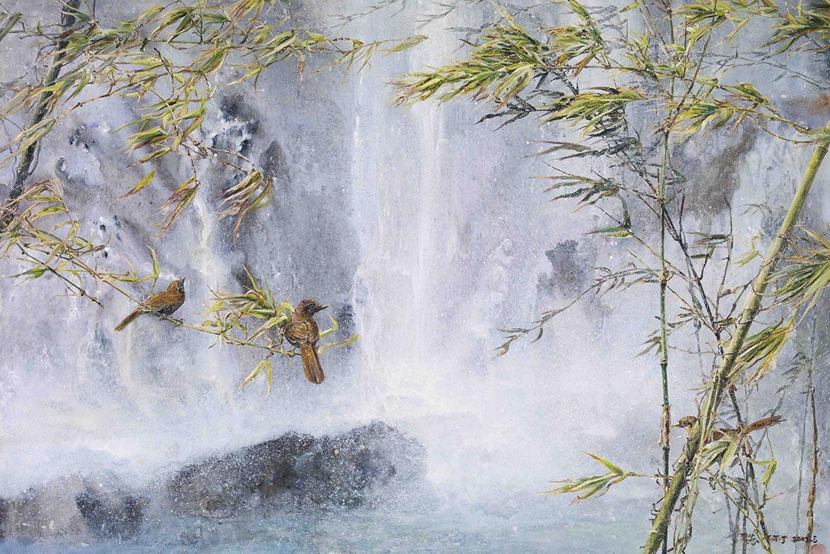張翠容 瀟灑碧玉枝 壓克力、油彩、麻布 80x116.5cm(50P)