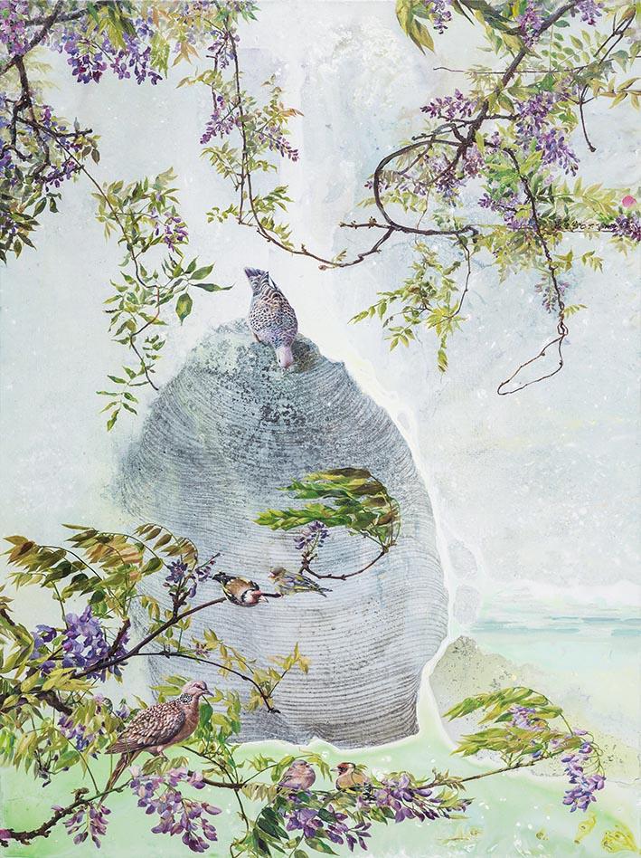 張翠容 紫語染春風 複合媒材、麻布 130.3×97.3cm (60F)