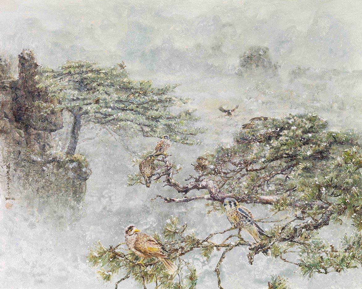 張翠容 前溪后嶺萬蒼松 壓克力、油彩、麻布 80x100cm(40F)