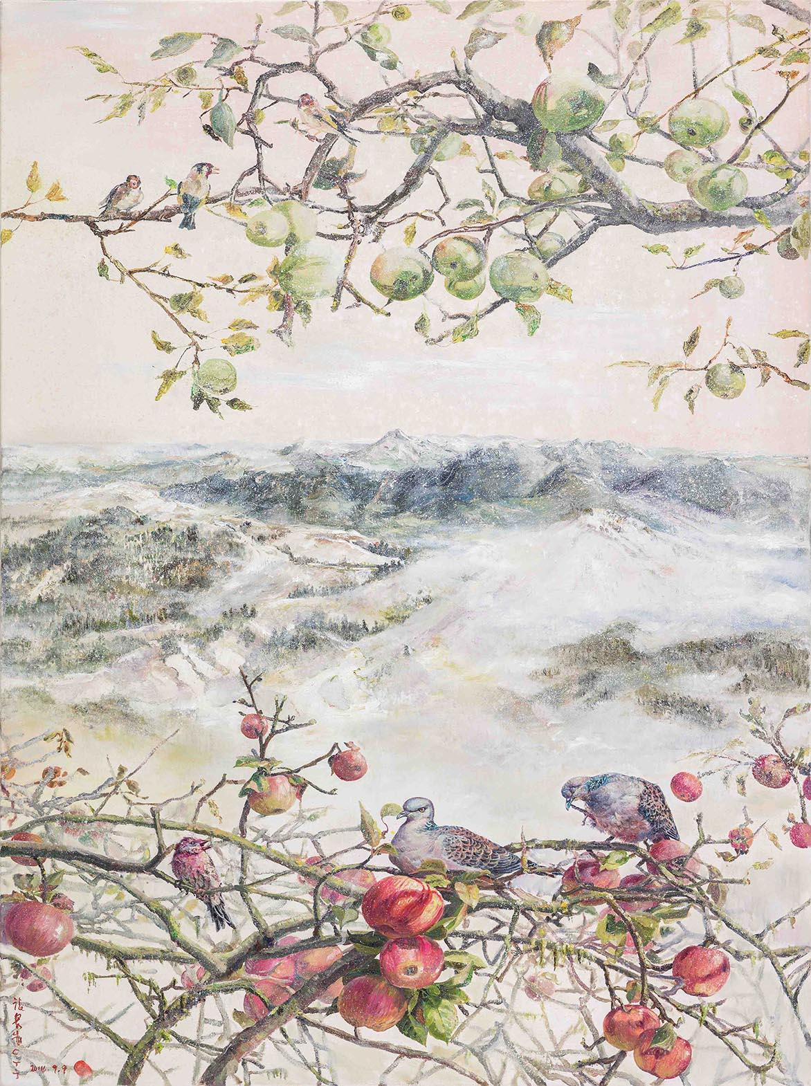 張翠容 蘋綠果紅冷不侵 複合媒材、麻布 130.3×97.3cm (60F)