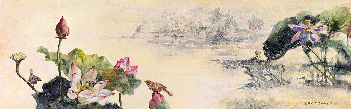 張翠容 晴露珠共合 壓克力、油彩、麻布 50.3x160cm