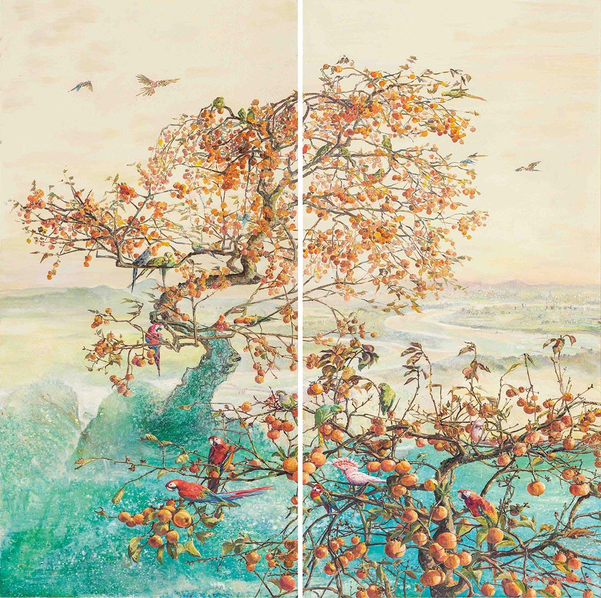張翠容 山含秋色近 複合媒材、麻布 194.5×194.6cm (240M)