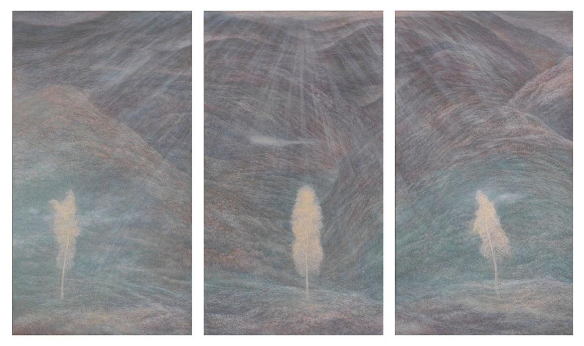 林煒翔 有三棵樹的風景 油彩、畫布 180x100cm