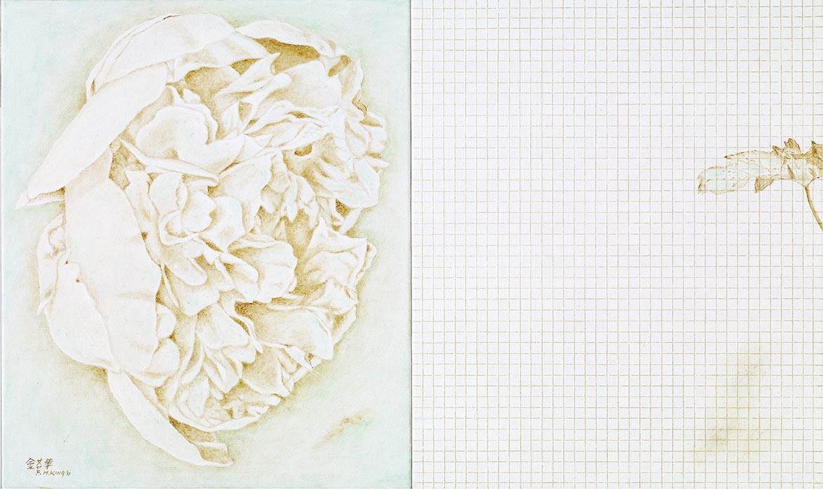 金芬華 對語II 油彩畫布 45.5x76cm