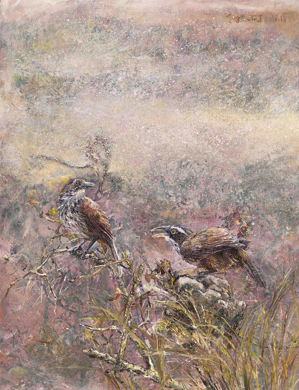 張翠容 花隱掖垣暮 壓克力、油彩、畫板 41.1x31.6cm