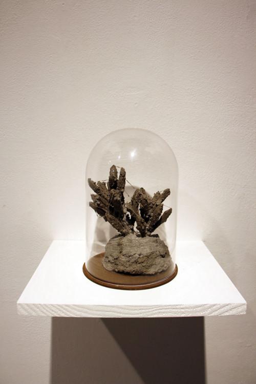 盧之筠 線狀關係 複合媒材(水泥、人造植物、縫衣針) 12x12x19cm