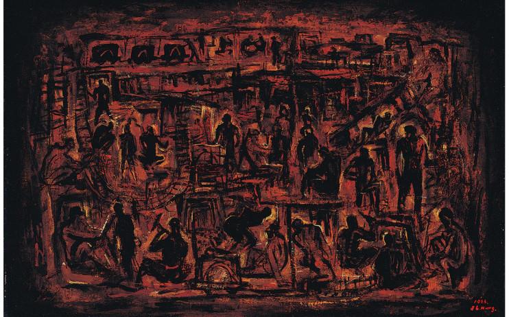 洪瑞麟 礦⼯頌 1966 油彩、畫布裱板 60×91cm