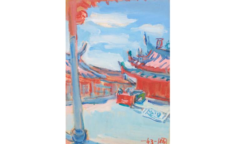 郭柏川 ⼤成殿(台南孔廟) 1954 油彩宣紙 33.5×23.5cm