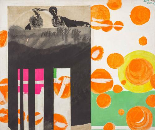 趙春翔 節日 1969 壓克力、水墨、拼貼紙本 99×119cm (13.1才)