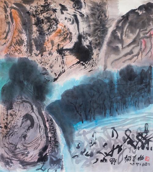 楚戈 山野協奏曲 2005 水墨、紙本 68×77cm (5.8才) 97×106×6cm (含框)