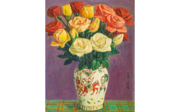 李石樵  玫瑰花 1979 油彩畫布  40.7×31.8cm (6F)