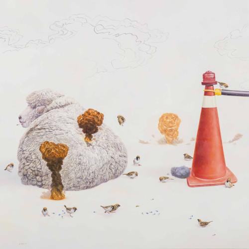 黃頤勝  聖戰的開端 2015 油彩、畫布  176×176cm