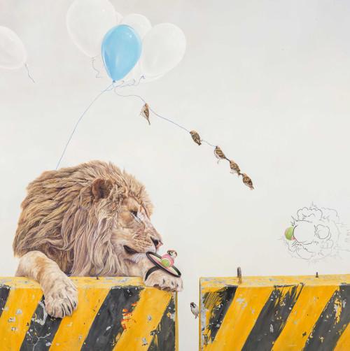 黃頤勝  逃離神聖的救贖 2015 油彩、畫布  176×176cm