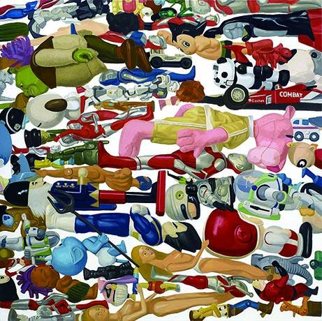 王建揚 漂浮的玩具 2006-2012 油彩、畫布 150x150cm