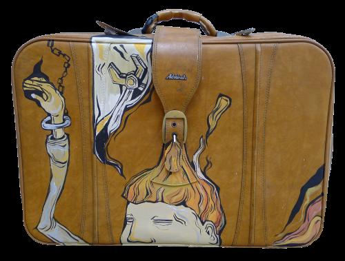 糖果鳥 皮箱 2016 油漆、二手皮箱 55x64x17.5cm