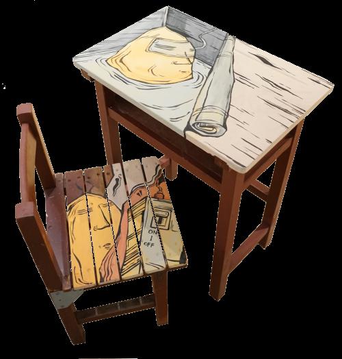 糖果鳥 無題之五 2016 噴漆、水性漆、桌椅 依場地而定