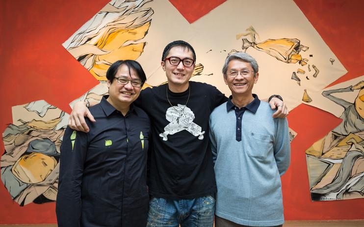 左起:尊彩藝術中心負責人余彥良、藝術家Candy Bird、陳澄波文化基金會董事長陳立栢