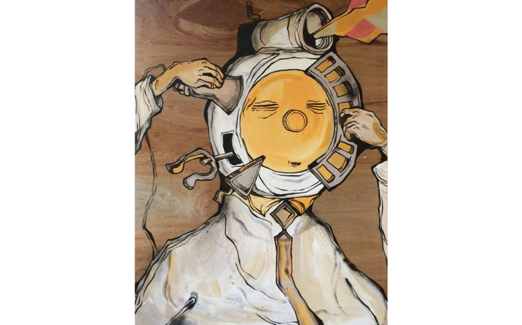 Candy Bird  忌惡如仇-1  2016  油漆、木板  121.3x90.8cm