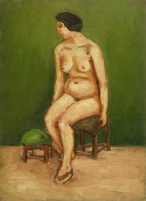 陳澄波  裸女坐姿左側 年代不詳 油彩畫布  33×24cm (4F)