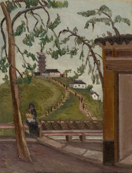 陳澄波  塔峰下 1933 油彩畫布  41×31.5cm (6F)
