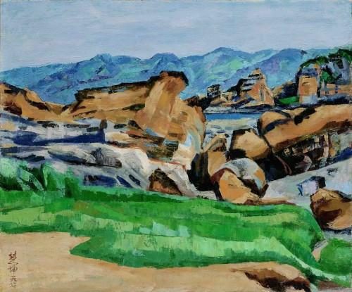 陳慧坤 金山群峰 1967 油彩畫布 50.3×60.5cm 67.2×77.5cm(含框)