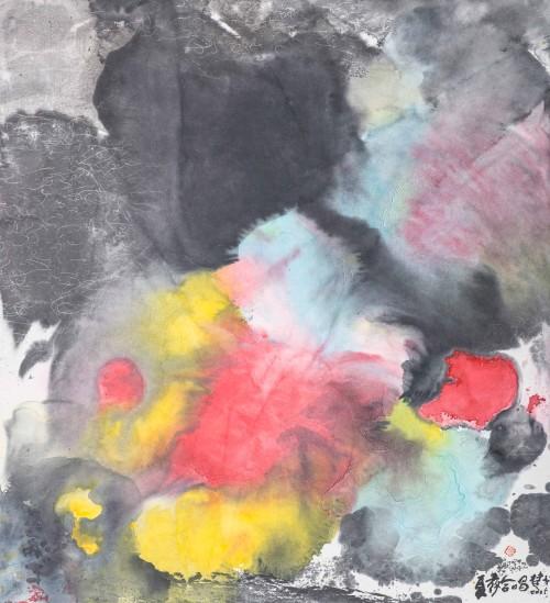 楚戈 夏夜合唱 水墨、壓克力、紙本 75.6x68.9cm